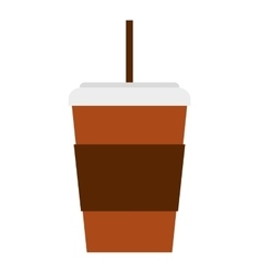 glass drink with straw isolated icon vector image vector image