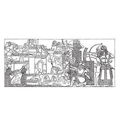 nineveh is a siege of a city vintage engraving vector image