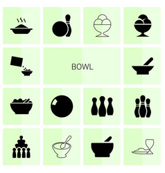 14 bowl icons vector image