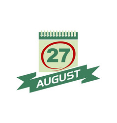 27 august calendar with ribbon vector