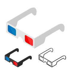3d glasses of flat style isometric vector