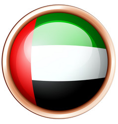 Arab emirates flag on round badge vector