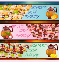 Banner set with sweets vector