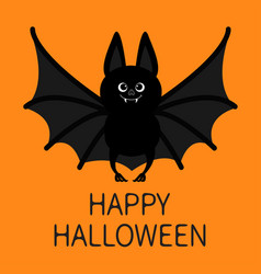 Bat standing happy halloween cute cartoon vector