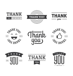 black thank you labels and signs vector image