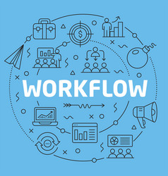 Blue line flat circle workflow vector