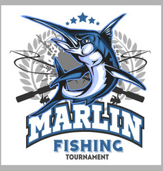 blue marlin fishing logo vector image