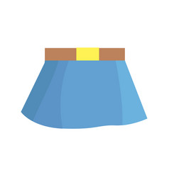 Blue skirt with brown belt on white background vector