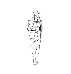 Business woman holding folder concept vector