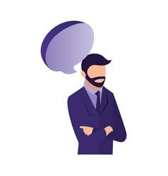 businessman portrait speech bubble communication vector image