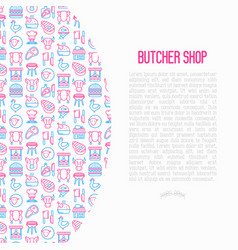 butcher shop concept with thin line icons vector image
