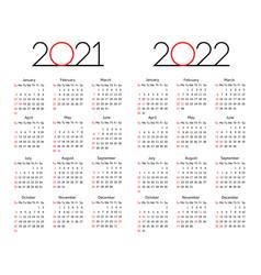 Calendar 2021 - 2022 year editable template vector