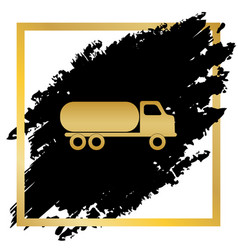 Car transports sign golden icon at black vector