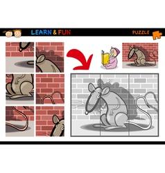 Cartoon rat puzzle game vector