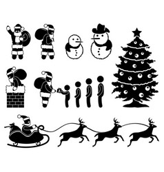 christmas santa claus snowman winter chimney vector image