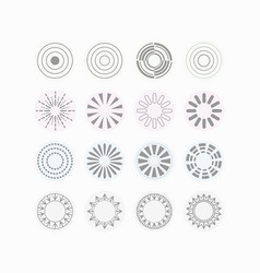 Circle vibes and beams icons set on off white vector