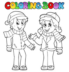 Coloring book kids theme 1 vector