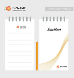 company note book design also with flower logo vector image