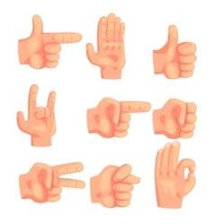 Conceptual Popular Hand Gestures Set Of Realistic vector image