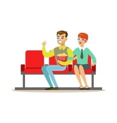 Couple Watching A Movie With Popcorn And 3D vector