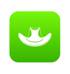 cowboy hat icon digital green vector image