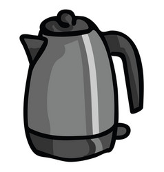 Cute electric kettle cartoon vector