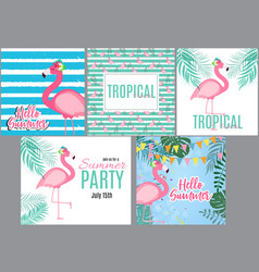 Cute pink flamingo summer collection set vector