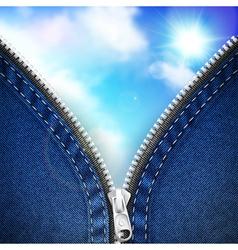 Denim background with open zipper vector image