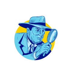 Detective Holding Magnifying Glass Circle Drawing vector