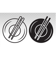 Dining flat icon with plate and chopsticks vector