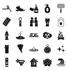 disaster icons set simple style vector image