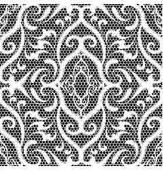 Embroidery lace black and white damask seamless vector