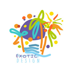 Exotic logo design beach holidays colorful hand vector