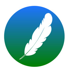 feather sign white icon in vector image