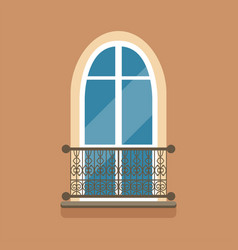 flat arched window and decorative facade cornice vector image