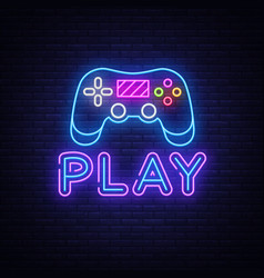 Gaming neon sign play design template neon vector
