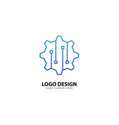 Gear tech logo design with monoline style vector
