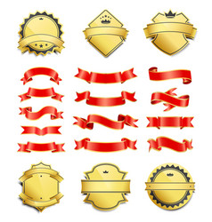 gilded shield shapes and silk ribbons variation vector image
