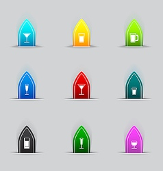 Glass icon set vector image