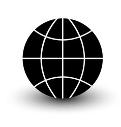 globe wireframe icon black isolated on white vector image