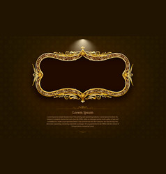 Gold frame circle border picture and pattern gold vector