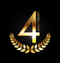 Golden template logo 4 years anniversary vector