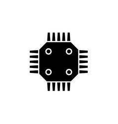 Gpu chip flat icon vector