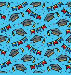 graduation caps seamless pattern vector image