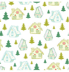 green gingerbread houses and christmas vector image