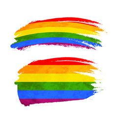 grunge brush stroke with rainbow flag lgbt vector image
