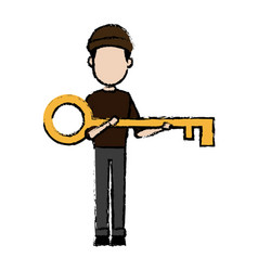 Hacker character holding big key security image vector