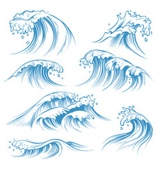 Hand drawn ocean waves sketch sea waves tide vector