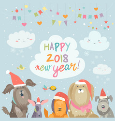 Happy 2018 new year card funny dogs congratulates vector