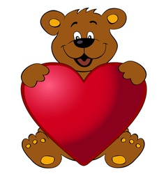Happy bear with heart vector image vector image